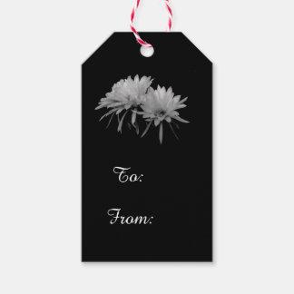 Étiquettes-cadeau Fleurs noires et blanches de cactus