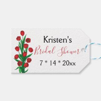 Étiquettes-cadeau Fleurs nuptiales rouges florales de ressort de