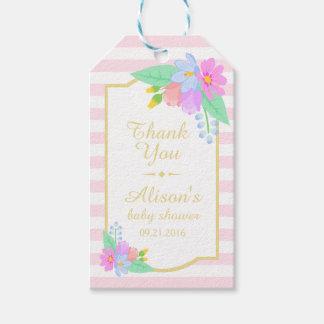 Étiquettes-cadeau Fleurs sur l'étiquette rose de cadeau de Merci de