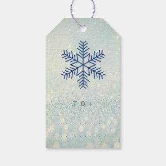 Étiquettes-cadeau Flocons de neige d'argent de marine de parties