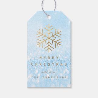 Étiquettes-cadeau Flocons de neige d'or bleus de parties
