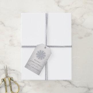 Étiquettes-cadeau Flocons de neige gris d'argent de scintillement