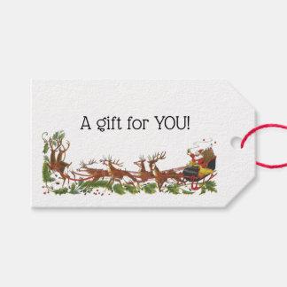 Étiquettes-cadeau Frontière de renne de Noël Père Noël Sleigh de