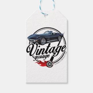 Étiquettes-cadeau Garage vintage avec Corvette noire