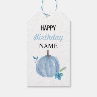 Étiquettes-cadeau Garçon bleu d'étiquette de citrouille de Merci