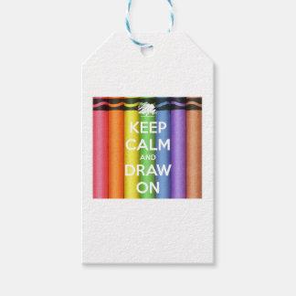 Étiquettes-cadeau Gardez le calme et dessinez sur des couleurs