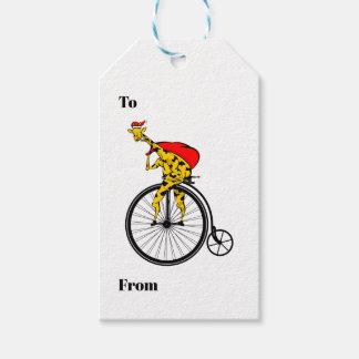 Étiquettes-cadeau Girafe sur Noël de vélo