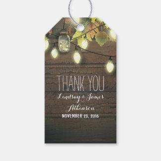 Étiquettes-cadeau Grange rustique de lumières de pot de maçon et de