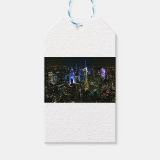 Étiquettes-cadeau Gratte-ciel de Manhattan Etats-Unis de nuit de New