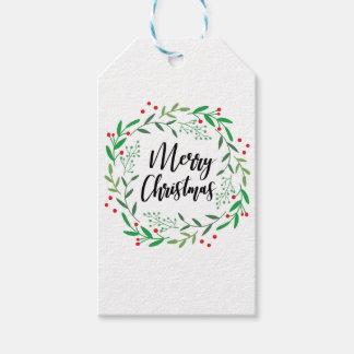 Étiquettes-cadeau Guirlande de Noël, Joyeux Noël, bonnes fêtes