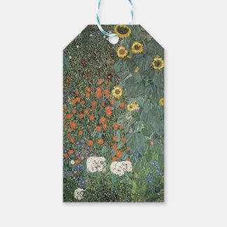 Étiquettes-cadeau Gustav Klimt - fleurs de tournesols de jardin de
