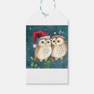 Étiquettes-cadeau hiboux de Joyeux-Noël