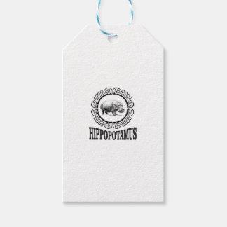 Étiquettes-cadeau Hippopotame encadré