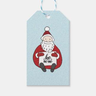 Étiquettes-cadeau Ho ho ho Père Noël mignon dessinant Noël