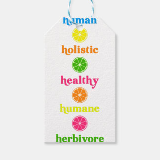 Étiquettes-cadeau Holistique-Humain-Herbivore
