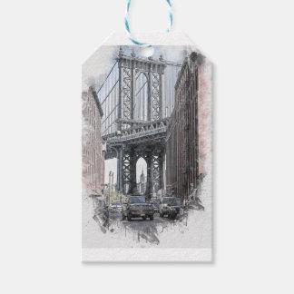 Étiquettes-cadeau Horizon de pont des Etats-Unis New York Manhattan