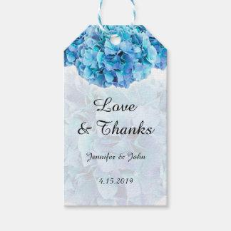 Étiquettes-cadeau Hortensias bleus à la mode épousant l'étiquette de