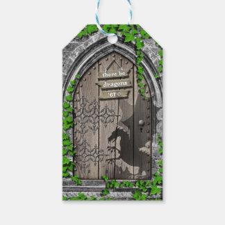 Étiquettes-cadeau Il y ait le Roi Arthur Medieval Dragon Door de