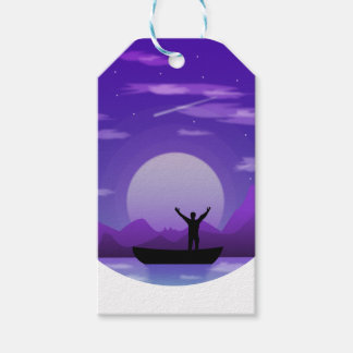 Étiquettes-cadeau Illustration de nuit de paysage