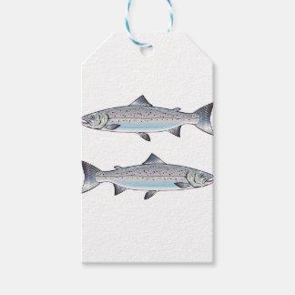 Étiquettes-cadeau Illustration de poissons d'océan de saumon
