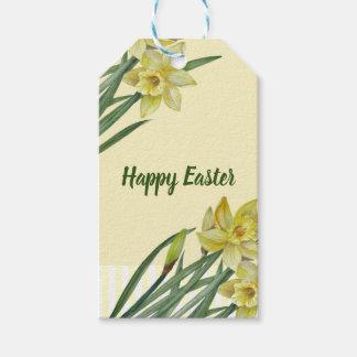 Étiquettes-cadeau Illustration de portrait de fleur de jonquilles