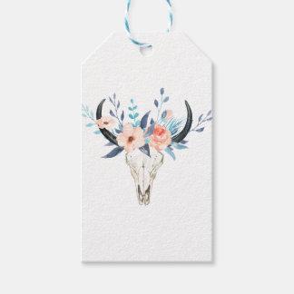 Étiquettes-cadeau Illustration florale rose de crâne de taureau
