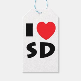 Étiquettes-cadeau J'aime le Dakota du Sud
