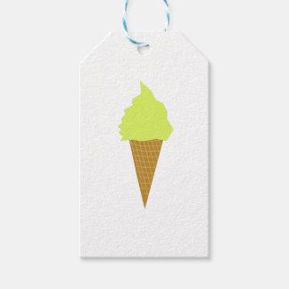 Étiquettes-cadeau jaune de style d'amusement de crème glacée