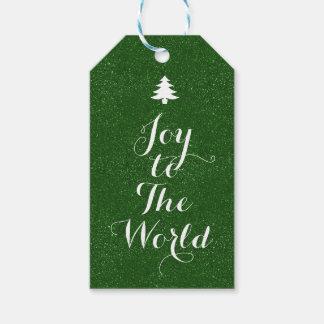 Étiquettes-cadeau Joie au scintillement de vert du monde