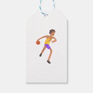 Étiquettes-cadeau Joueur de basket passant l'autocollant d'action de