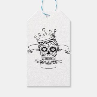 Étiquettes-cadeau Jour de crâne du crâne mort de sucre de couronne