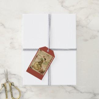 Étiquettes-cadeau Joyeuse petite grenouille vintage de Noël sur la