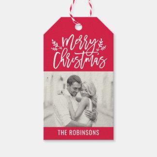 Étiquettes-cadeau Joyeuse photo rouge de manuscrit de Noël |