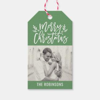 Étiquettes-cadeau Joyeuse photo verte de manuscrit de Noël |
