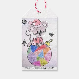 Étiquettes-cadeau Joyeuse souris Père Noël d'étiquette de cadeau de