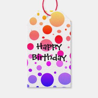 Étiquettes-cadeau Joyeux anniversaire pointillé par arc-en-ciel