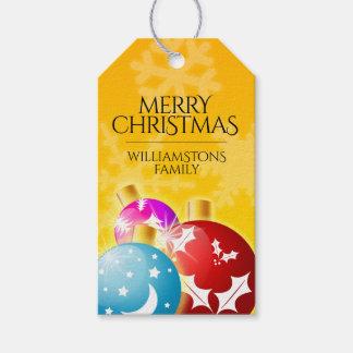 Étiquettes-cadeau Joyeux Noël avec les ornements de fête de vacances