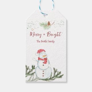 Étiquettes-cadeau Joyeux Noël de bonhomme de neige