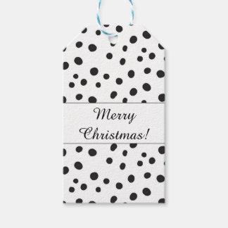 Étiquettes-cadeau Joyeux Noël de pois noir et blanc