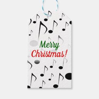"""Étiquettes-cadeau """"Joyeux Noël !"""" + Motif de beaucoup de notes"""