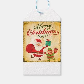 Étiquettes-cadeau Joyeux Noël vintage Daning Père Noël et Elf