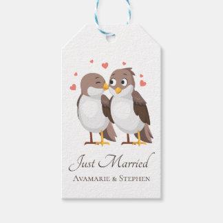 Étiquettes-cadeau Juste perruches mariées Brown et oiseaux blancs de
