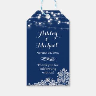 Étiquettes-cadeau La ficelle de bleu marine allume le Merci de