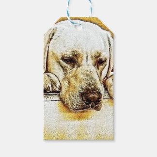 Étiquettes-cadeau Labrador retriever jaune sur la porte