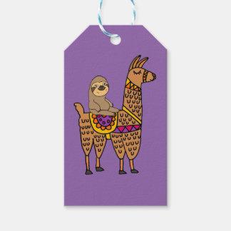 Étiquettes-cadeau Lama drôle frais d'équitation de paresse