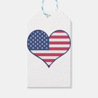 Étiquettes-cadeau L'amour Etats-Unis Etats-Unis de coeur de symbole