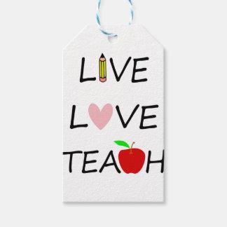 Étiquettes-cadeau l'amour vivant enseignent