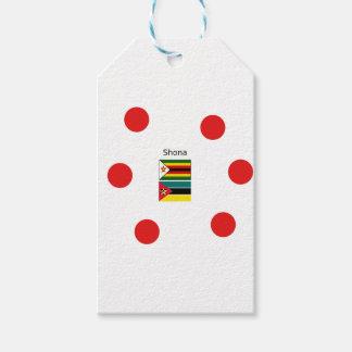 Étiquettes-cadeau Langue de Shona et drapeaux du Zimbabwe et de la
