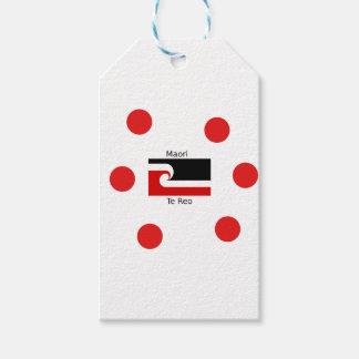 Étiquettes-cadeau Langue de Te Reo et conception maorie de drapeau