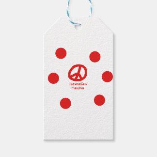 Étiquettes-cadeau Langue et conception hawaïennes de symbole de paix